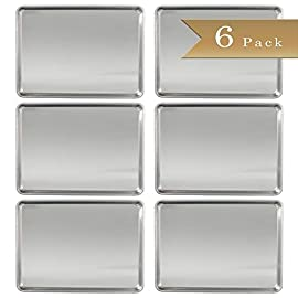 "Set of 6 - TrueCraftware 18 Gauge Aluminium Commercial Baker's Half-Size Sheet / Baking Tray / Pan / 13 x 18"" 26 6 - Half Size Natural Aluminium Baking/Bun Sheet/Pans Baked goods rise and bake evenly due to aluminium's superior heat conductivity Durable and sturdy, the aluminium pan won't warp when baking at high temperatures."