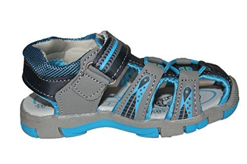 abdou-sandales nupieds à scratch-bleue et grise-garçon