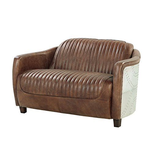 ACME Brancaster Retro Brown Top Grain Leather and Aluminum Loveseat Brown Leather Pillow Top Sofa