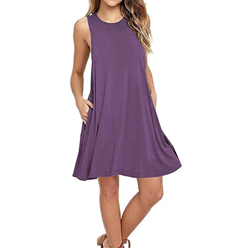KESEE Clearance Women's Lace Sleeveless Pockets Casual Swing T-Shirt Dresses O Neck Loose Above Knee Dress (S, Purple (Knitted Ruffle Dress)