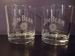 Amazon Com Set Of 2 Jim Beam Black Bourbon Whiskey Round