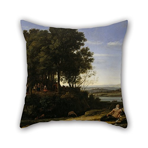 Bestseason 18 X 18 Inches / 45 By 45 Cm Oil Painting Claude Lorrain (Claude Gellée) - Landscape With Apollo And The Muses Cushion Covers,two Sides Is Fit For Boy (Apollo Dive)