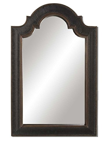 Ribbed Black Gold Arch Wall Mirror | Sculpted Vanity Traditional