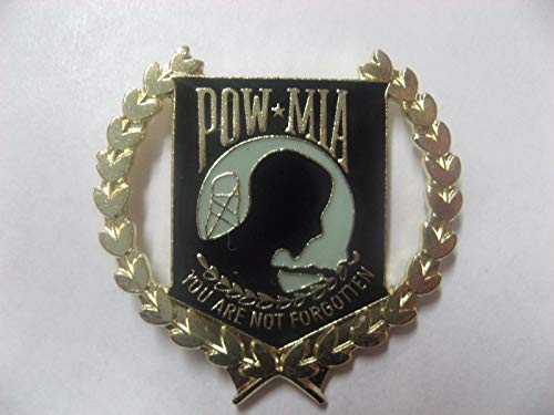 - United States POW-MIA Lapel pin Black(Goldtone Wreath Around it) Very Nice New