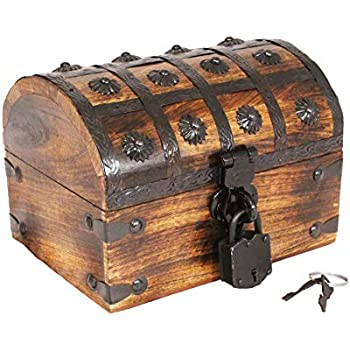 Well Pack Box Pirate Treasure Chest Wooden Iron Lock Skeleton Key Small 8 x 6 x 6 Wood Storage Decorative Keepsake Box