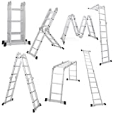 #1: Giantex 12.5FT Multi Purpose Folding Step Ladder Platform Extendable Scaffold Ladder EN131 Aluminum Lightweight 330LB