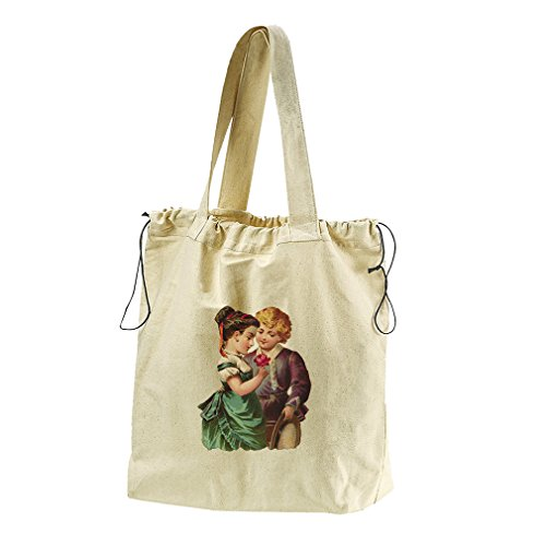 Couple Of Kid With Rose Valentines Day Canvas Drawstring Beach Tote Bag by Style in Print