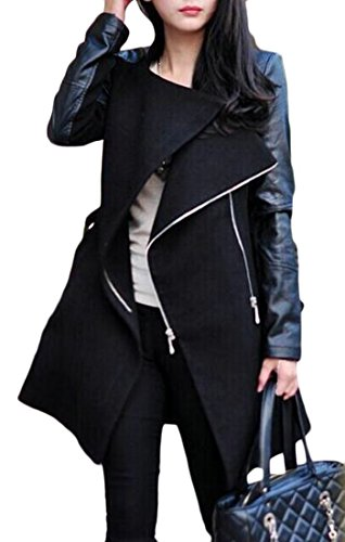 (Lutratocro Womens Overcoat Zipper Faux Leather Splice Warm Outwear Pea Coat Black XL)