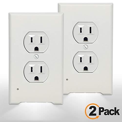 2Pack 3 LED Night Light Outlet Cover Plate-No Wires Or Batteries,Light Sensor Auto Guidelight,Install easy,With 0.3W High Brightness LED Light,Energy Efficient,Ideal for Hallway,Stair, (White,Duplex) (Night Light Switchplate)