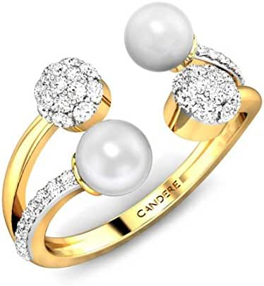 925 Sterling Silver & 14K Gold 1.508 ctw Round Cut Diamonds & Pearl Designer Cocktail Ring for Her (IGI, I-J, SI1-SI2)
