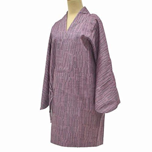 破裂サラミ間違えた着物 コート 中古 リサイクル 正絹 道中着 紬 幾何学文様 裄64.5cm はおり 紫系 裄Mサイズ jj0957c
