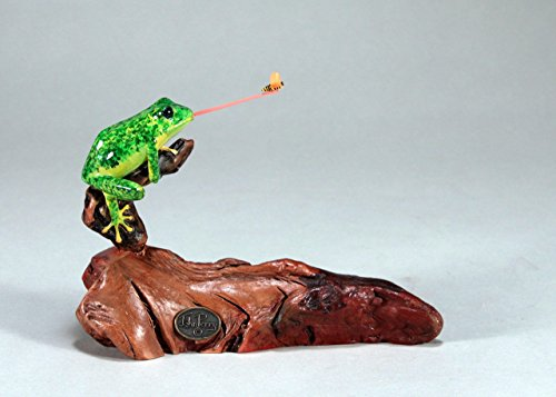 - Fly-catching Frog Sculpture by John Perry Statue on Burl Wood Airbrushed 6in Long