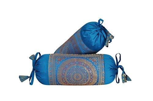 - Lalhaveli Designer Silk Fabric Bolster Pillow Cushion Covers Housewarming Gift Set of 2 Pc 18 x 8 Inch