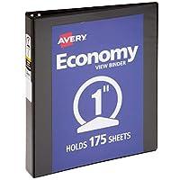 "Avery 1 ""Economy View 3 Ring Binder, anillo redondo, papel de 8,5"" x 11 "", 1 carpeta negra (5710)"