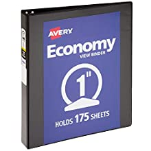 "Avery 1 Inch Economy View 3 Ring Binder, Round Ring, Holds 8.5"" x 11"" Paper, 1 Black Binder (05710)"