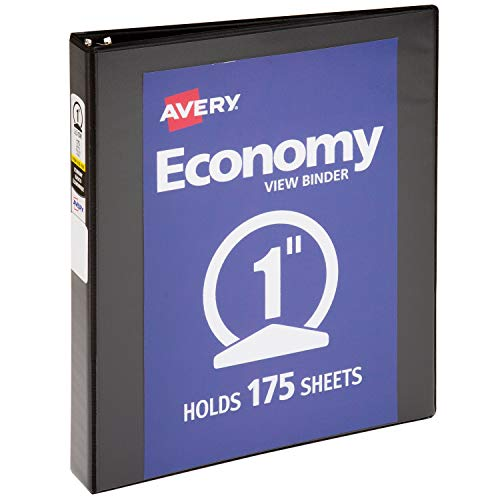 Avery 1-Inch Capacity Economy Reference View Binder - 8.5 x 11 Inches Clear Label Sleeve Round Ring