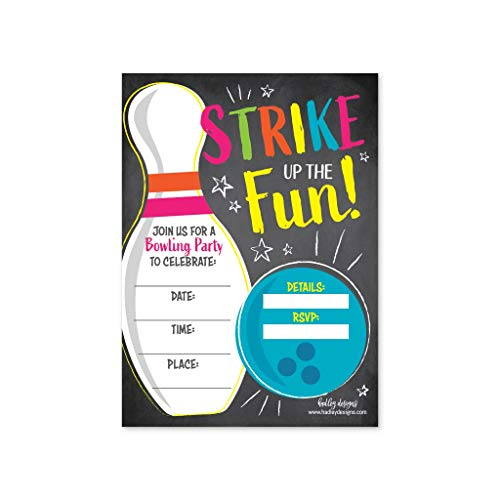 Bowling Birthday Party Supplies (25 Bowling Birthday Party Invitations, Strike Up Some Fun Themed Kids Invite Supplies, Boys Girls Retro Cosmic Ten Pin Style Bday Idea, Galactic Glow Alley Coed Style Printed or Fill)