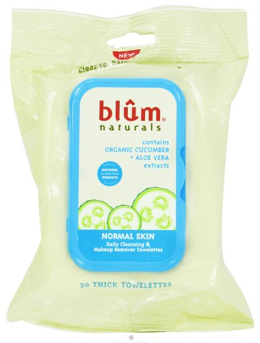 Blum Naturals Daily Cleansing and Makeup Remover Towelettes for Normal Skin - 30 Towelettes - Case of 3-pack of 1