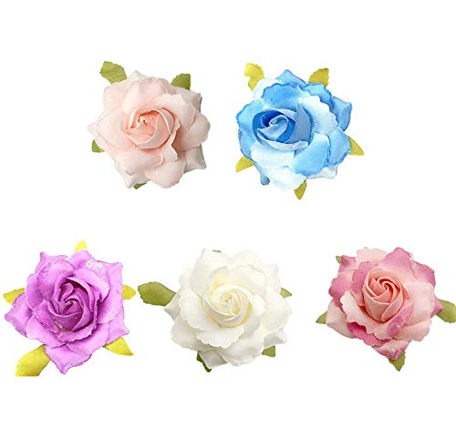 Wcysin 5 Pack Rose Flower Brooch Floral Hair Clips for Women Rose Hair Accessories Wedding ()
