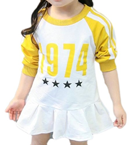 Yayu Little Girl New Slim Fit Letters Printed Hem Dress Yellow 5T by Yayun
