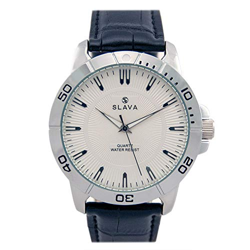 Slava SL10094SW Quartz Analog Waterproof Mens Wrist Watch Leather Band Palladium Plated