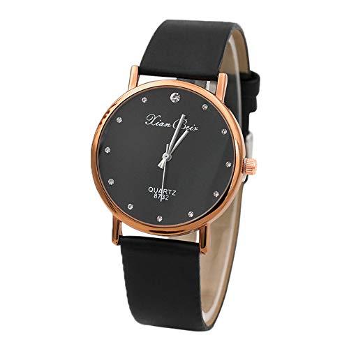 Modaworld Relojes Mujer Moda Reloj de Pulsera de Cuarzo con Esfera Redonda y Banda de Cuero de Diamante para Mujer Relojes Deportivos: Amazon.es: Relojes