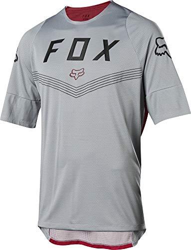 Fox Racing Defend Fine Line Short-Sleeve Jersey - Men's Steel Grey, XL