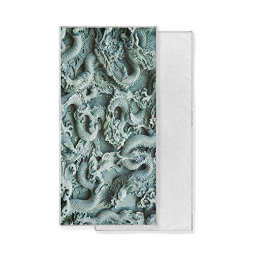 - LUCASE LEMON ALEX Carved Chinese Dragon Pattern Soft Super Absorbent Large Decor Hand Towels Multipurpose Fast Drying Towel for Bathroom Hotel Gym Spa 15'' x 30''