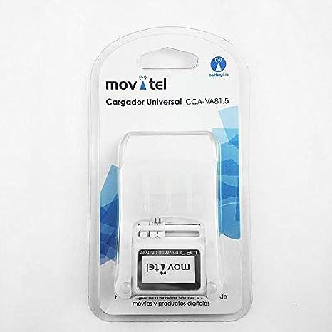 Movitel - Cargador de batería universal con Led y USB incorporado para móviles