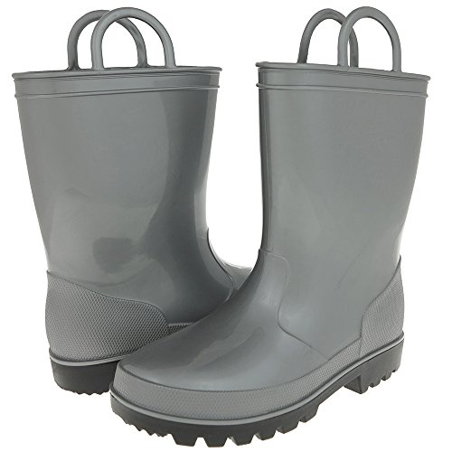 Shiny Solid Metallic Opaque With Handles Girls Casual Body Jelly Rain Boot Silver