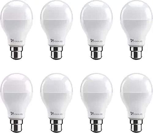 Syska 9 W, 7 W Standard B22 LED Bulb  White, Pack of 8