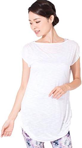 ヨガウェア トップス ルーシュ ロングTee ホワイト 【日本正規品】レディース Tシャツ 101100216-002-M ホワイト M