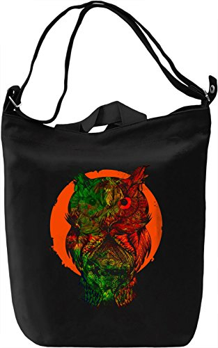 Orange Moon Owl Borsa Giornaliera Canvas Canvas Day Bag| 100% Premium Cotton Canvas| DTG Printing|