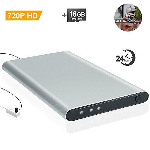 Wiseup 16GB 5000mAh Power Bank Wifi Network Hidden Spy Camera Built-in Support iPhone Android APP Remote View and Control with Motion Detective and Loop Recording Function