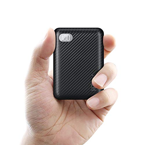 HTGK Portable Charger 10000mAh Power Bank with 3 Input and LCD Display, Ultra-Compact External Battery Charger Battery Pack, Fast Charging for iPhone, Samsung Galaxy and More