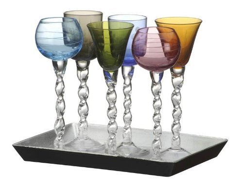 Artland 6 Ribbon Liqueur Glasses with Tray - 7 Piece Set by ARTLAND