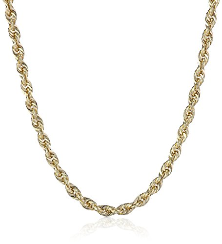 Diamond Cut Gold Necklace (14k Yellow Gold Hollow Diamond-Cut Rope Chain Necklace (2.5mm ), 18