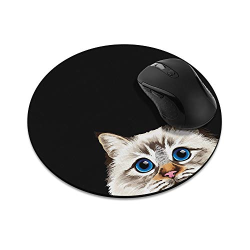 Non-Slip Round Mousepad, WIRESTER Seal Lilac Tabby Point Birman Cat Mouse Pad for Home, Office and Gaming Desk
