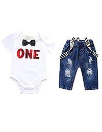 Baby Boys Birthday ONE Romper Suspenders Denim Pants Summer Outfit 3pcs Set
