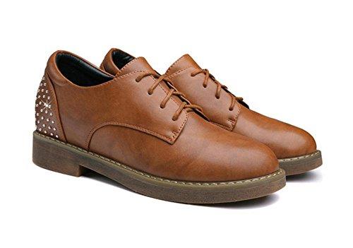 Ms. runde Spitzen Schuhe Schuhe mit flachen Schuhen Low-Top-Schuhe erhöht khaki