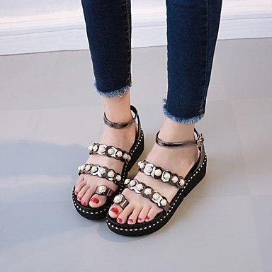 RUGAI-UE Moda de Verano Mujer sandalias casuales zapatos de tacones PU Confort,Negro,US8 / UE39 / UK6 / CN39 Champagne