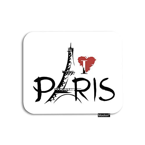 Moslion Paris Mouse Pad France Sheffield Tower with Word I Love Pairs Red Heart Gaming Mouse Pad Rubber Large Mousepad for Computer Desk Laptop Office Work 7.9x9.5 Inch Black White (Sheffield Laptop)