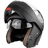 Full Face Modular Flip Up DOT Motorcycle Helmet with Dual Visor Matte Black