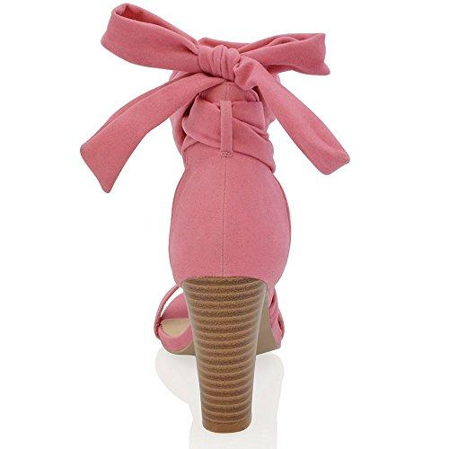 Essex Glam Gamuza Sintética Zapatos de tacón cuadrado con cordones para atar al tobillo Coral Gamuza Sintética