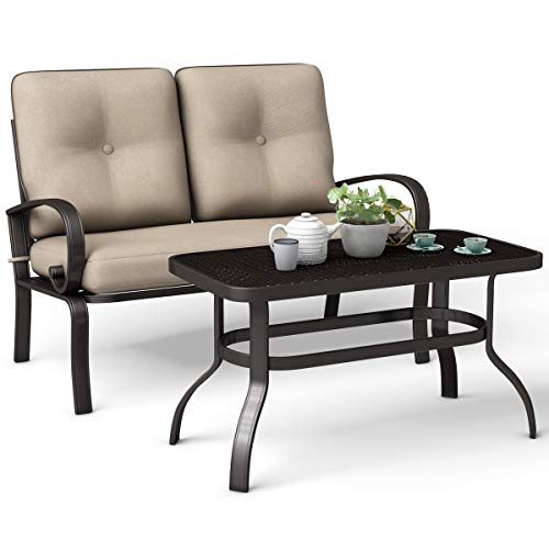 Giantex 2 Pcs Patio Loveseat with Coffee Table Outdoor Bench with Cushion and Metal Frame, Loveseat Furniture Set Sofa for Garden, Yard, Patio or Poolside ()