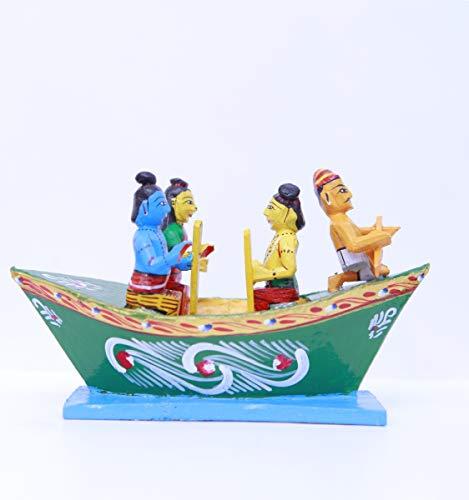 Andhra Hand Crafts Kondapalli Wood Hand Crafts Kondapalli Rama Boat For Kids, 7X2.5X5 Inch, Multicolour