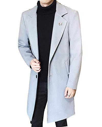 Parka Coat Hiver Homme Veste Gris Chaud Laine Manteau En Fit Trench Slim Longue Blousons De Mélange 7Swqdwtxf