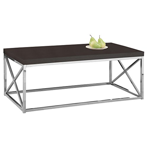 Monarch Specialties I 3270, Cocktail Table, Chrome Metal, Cappuccino - Chrome Mdf Table