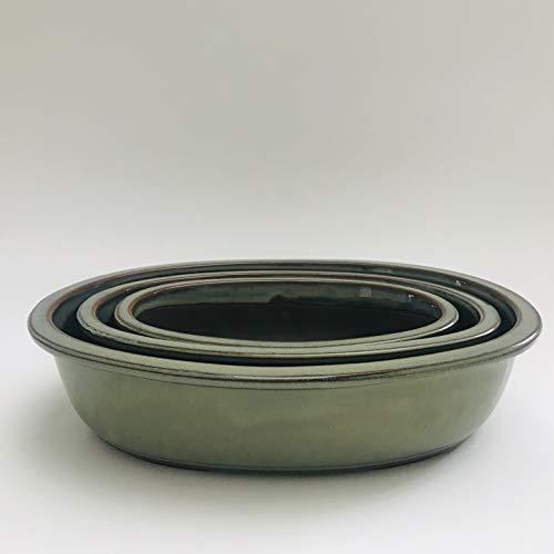 (Kotobuki Japanese Glazed Bonsai Oval Pot : 1set/3pcs #34-3)