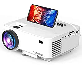TOPVISION Mini Projector Outdoor Movie Projector with Screen Mirroring, Video Projector 1080P Supported Compatible with…